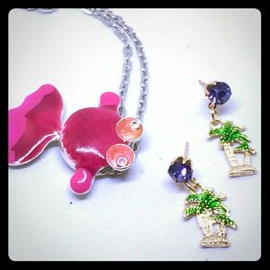 Palm Tree Earrings & Pink Fish Necklace